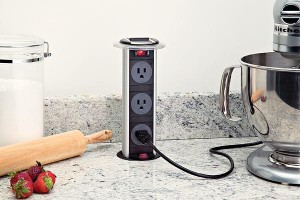 hidden pop up outlets kitchen power